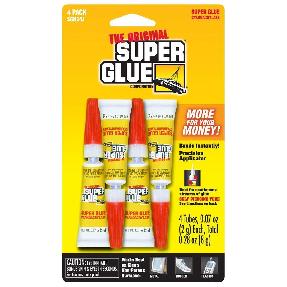 Super Glue 0.07 oz. Glue, (4) 0.07 oz. Tubes per card, Case pack of 12 cards