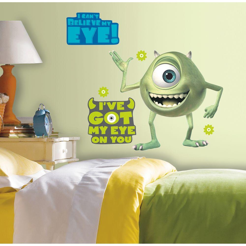 18 in. x 40 in. Monsters Inc Giant Mike Wazowski 12-Piece Peel and ...