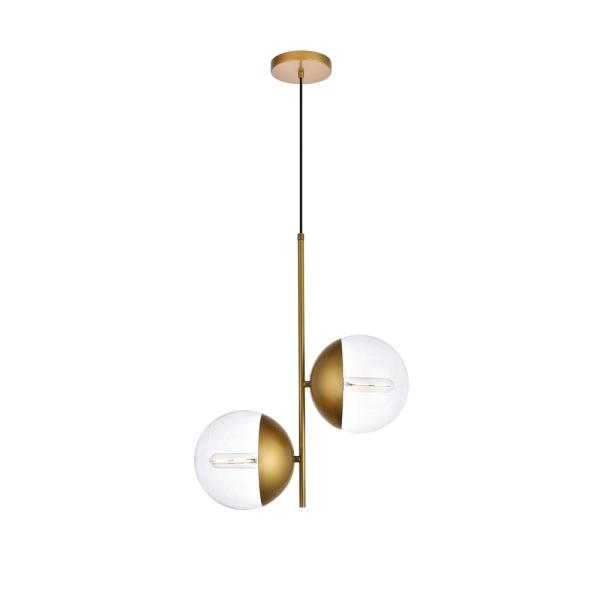 Timeless Home Ellie 2-Light Brass Pendant with 8 in. W x 7.5 in. H Clear Glass Shade
