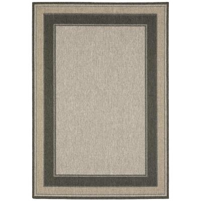 Jasper Gray 8 ft. x 12 ft. Border Indoor/Outdoor Area Rug