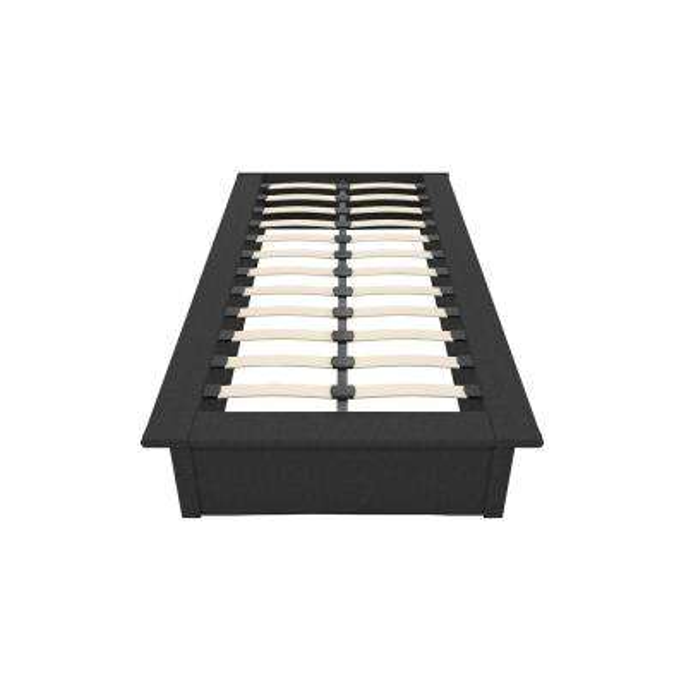 Kristian Grey Linen Twin Size Upholstered Platform Bed