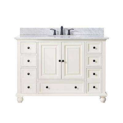 Thompson 49 in. W x 22 in. D x 35 in. H Vanity in French White with Marble Vanity Top in Carrera White with Basin