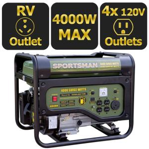 Sportsman 4,000-Watt Gasoline Powered Portable Generator with RV Outlet, 50 State Compliant by Sportsman