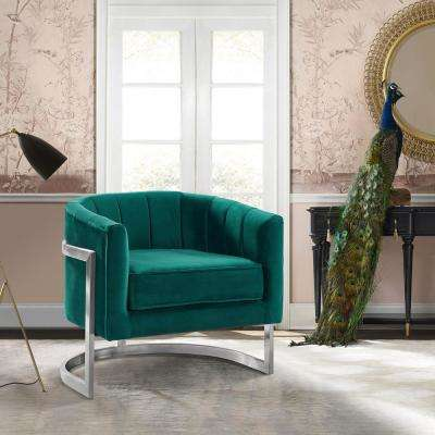 Kamila Green Velvet and Brushed Stainless Steel Contemporary Accent Chair