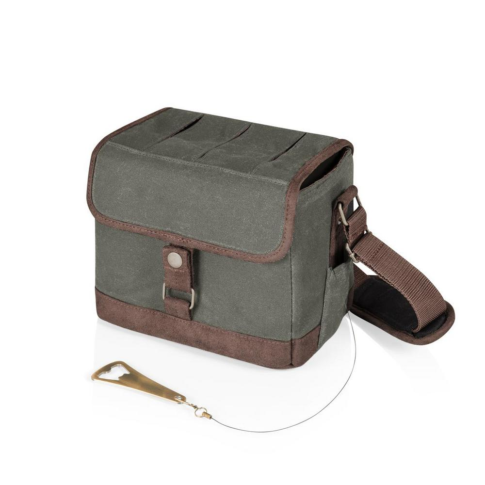 Legacy Legacy Beer Caddy Khaki Green and Brown Cooler Tote with Opener