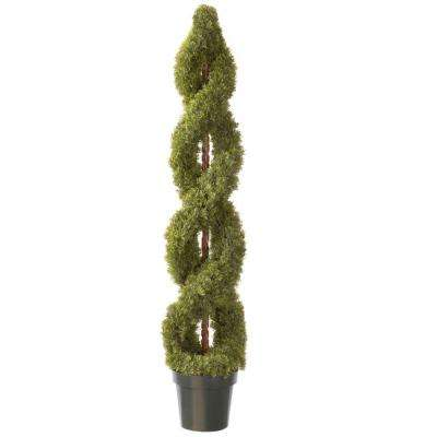60 in. Double Cedar Artificial Spiral Tree with Green Round Growers Pot