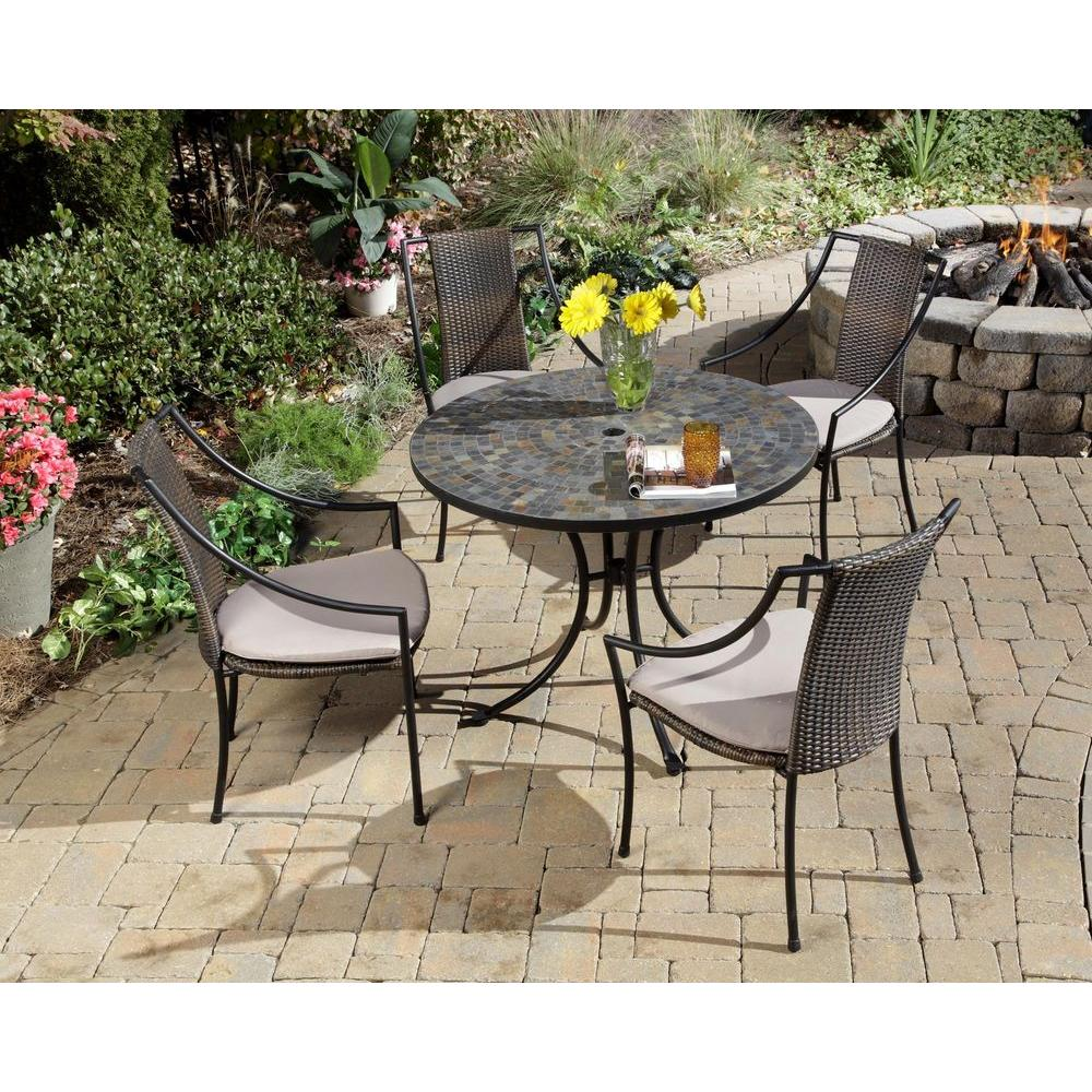 Homestyles Stone Harbor 5 Piece Round Patio Dining Set With Taupe Cushions