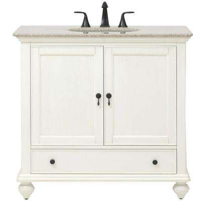 Newport 37 in. W x 21-1/2 in. D Bath Vanity in Ivory with Granite Vanity Top in Champagne
