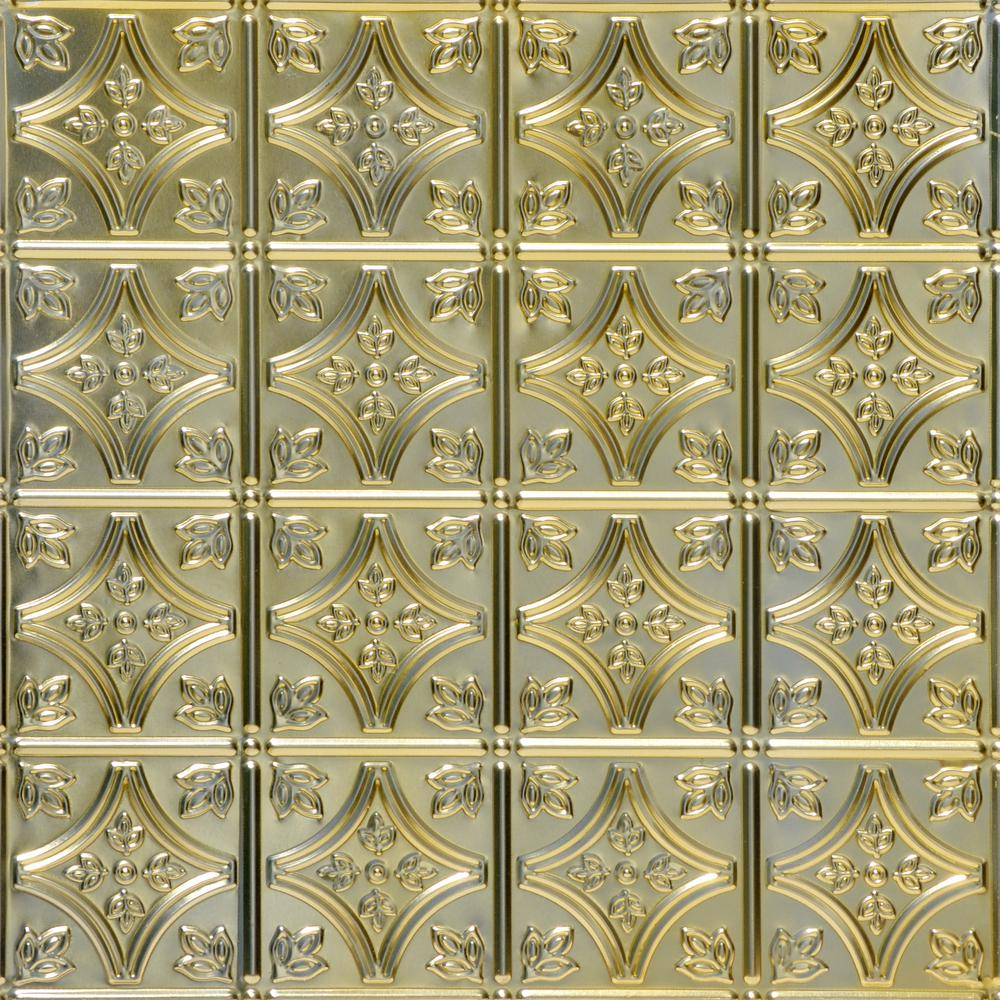 From Plain To Beautiful In Hours Tiny Tiptoe 2 Ft X 2 Ft Lay In Tin Ceiling Tiles In Gold Nugget 48 Sq Ft Box Skpc209 Gn 24x24 D 12 The Home Depot