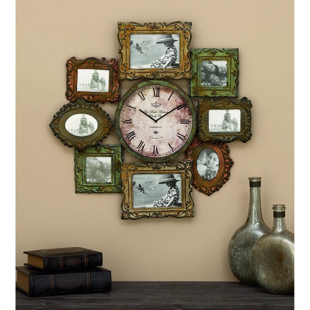 Litton Lane 25 In X 25 In Metal Photo Frame And Wall Clock 68412