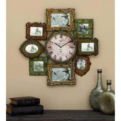 25 in. x 25 in. Metal Photo Frame and Wall Clock