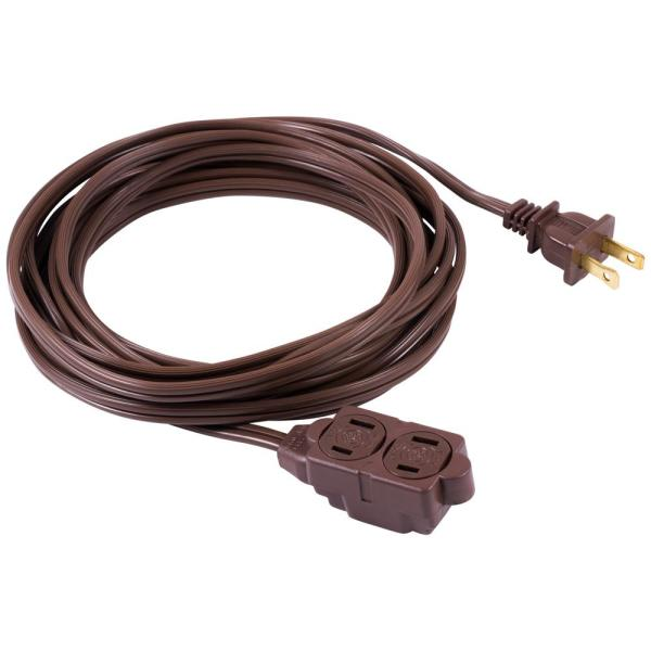 6 ft. 2-Wire 16-Gauge Polarized Indoor Extension Cord, Brown