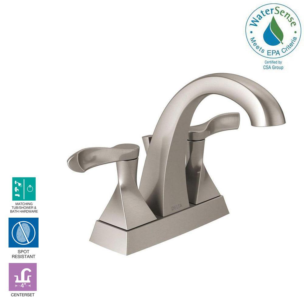 Delta everly 4 in centerset 2 handle bathroom faucet in spotshield brushed nickel