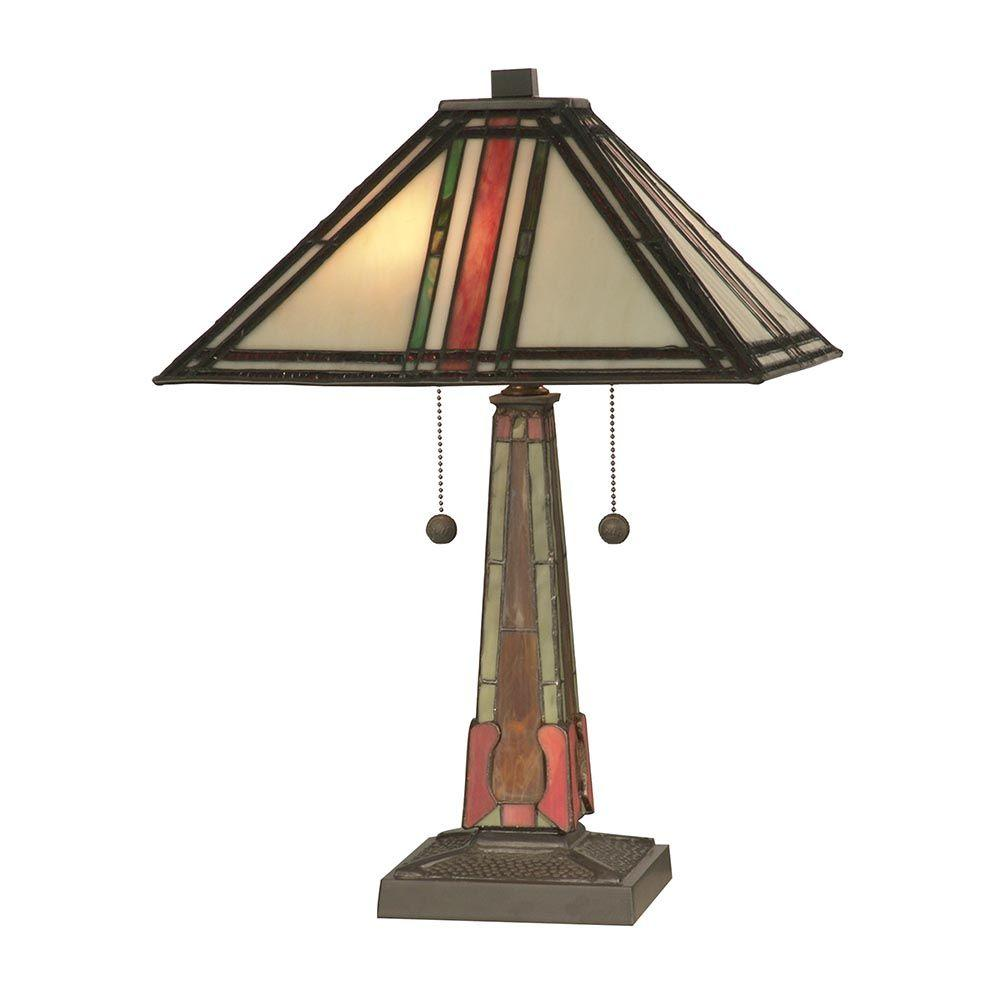 Dale Tiffany 20 in. Multi Color Mission Art Glass Table Lamp-DISCONTINUED