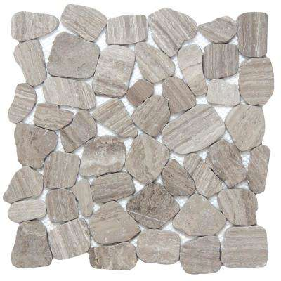 Cultura Gray Honed and Tumbled 11.81 in. x 11.81 in. x 8 mm Pebbles Mesh-Mounted Mosaic Tile (1 sq. ft.)