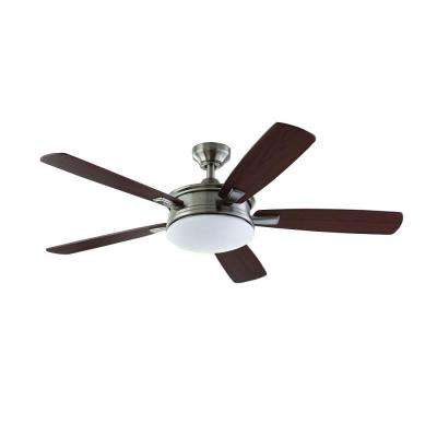 Daylesford 52 in. LED Indoor Brushed Nickel Ceiling Fan with Light Kit and Remote Control