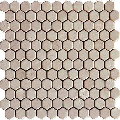 Crema Marfil Hexagon 12 in. x 12 in. x 10 mm Tumbled Marble Mesh-Mounted Mosaic Tile (8.9 sq. ft. / case)
