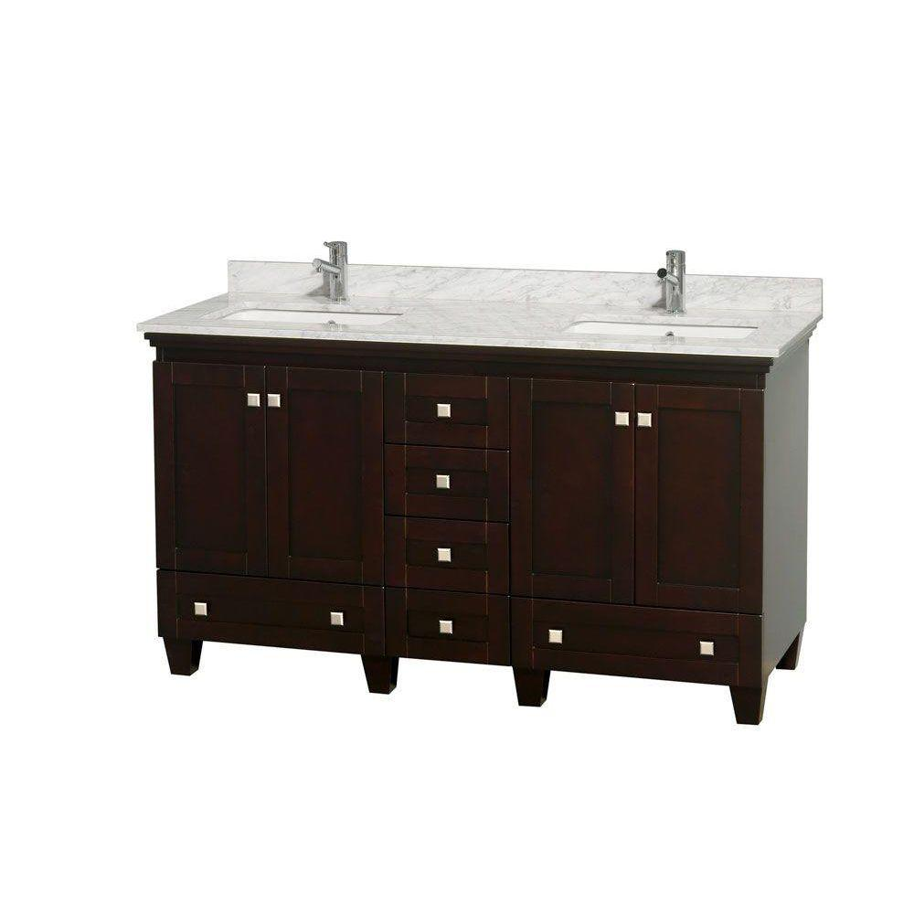 Wyndham Collection Acclaim 60 in. Double Vanity in Espresso with Marble Vanity Top in Carrara White and Square Sinks