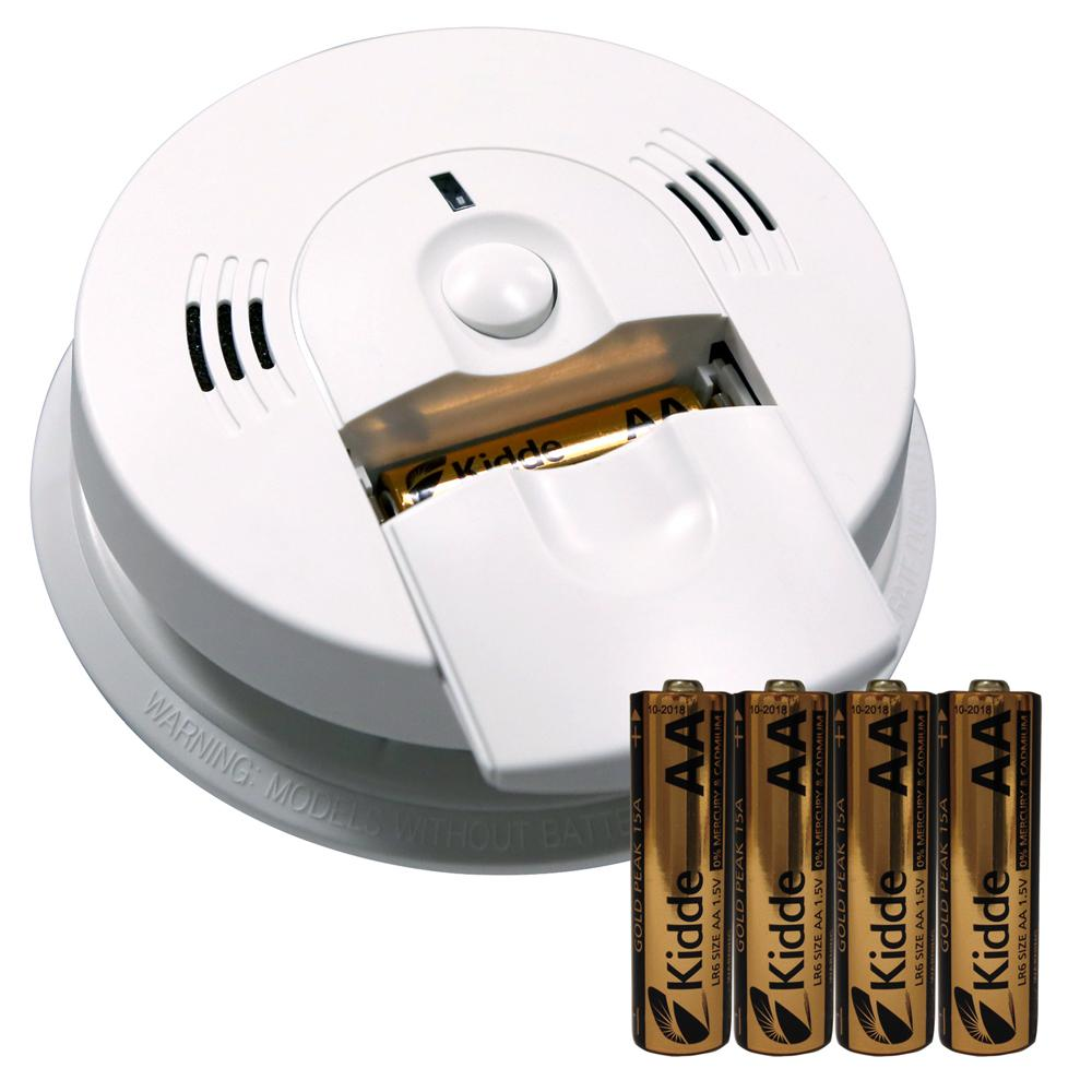 Battery Operated Ionization Alarm with Voice Alert and Battery Pack Bundle