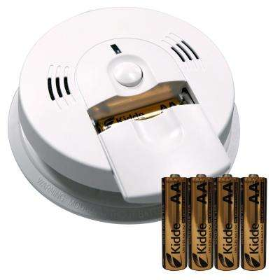 Battery Operated Combination Smoke and Carbon Monoxide Alarm with Voice Alert and Battery Pack Bundle