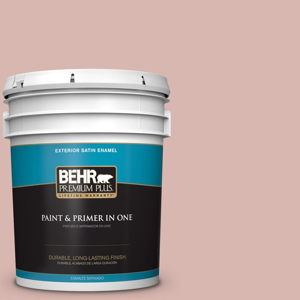 BEHR Premium Plus 5-gal. #170E-3 Bridal Rose Satin Enamel Exterior Paint