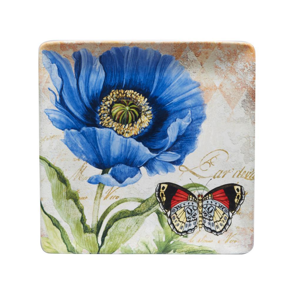 Poppy Garden 12.5 in. Multi-Colored Ceramic Square Platter