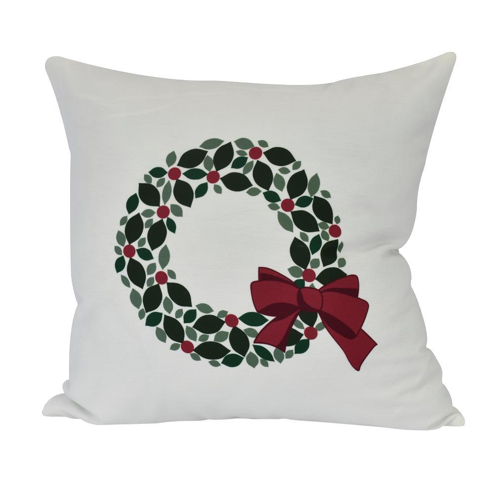 Holly Wreath Floral Print Throw Pillow