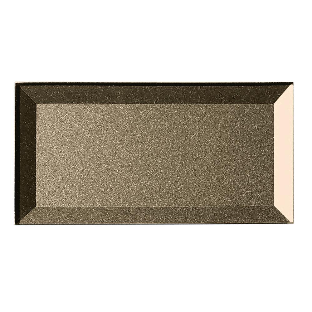 "Subway 3"" x 6"" Metallic Blue Gray Beveled Glossy Glass Peel & Stick Decorative Bathroom Wall Tile Backsplash Sample"