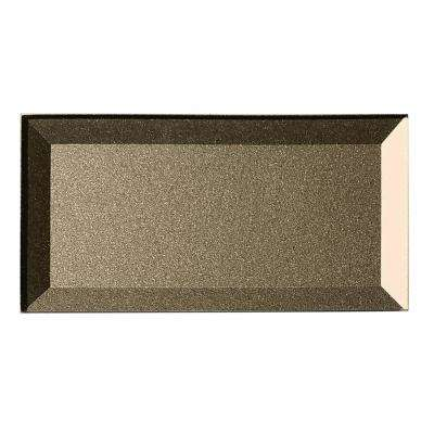 "Subway 3"" x 6"" Handmade Metallic Bronze Beveled Glossy Glass Peel & Stick Decorative Bathroom Wall Tile Backsplash (8Pk)"