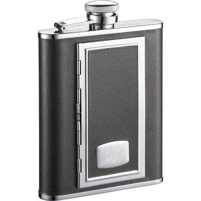 SP Black Liquor Flask with Built-In Cigarette Case