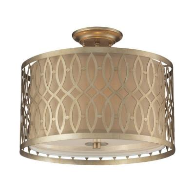 Estonia 3-Light Aged Silver Ceiling Semi-Flush Mount Light