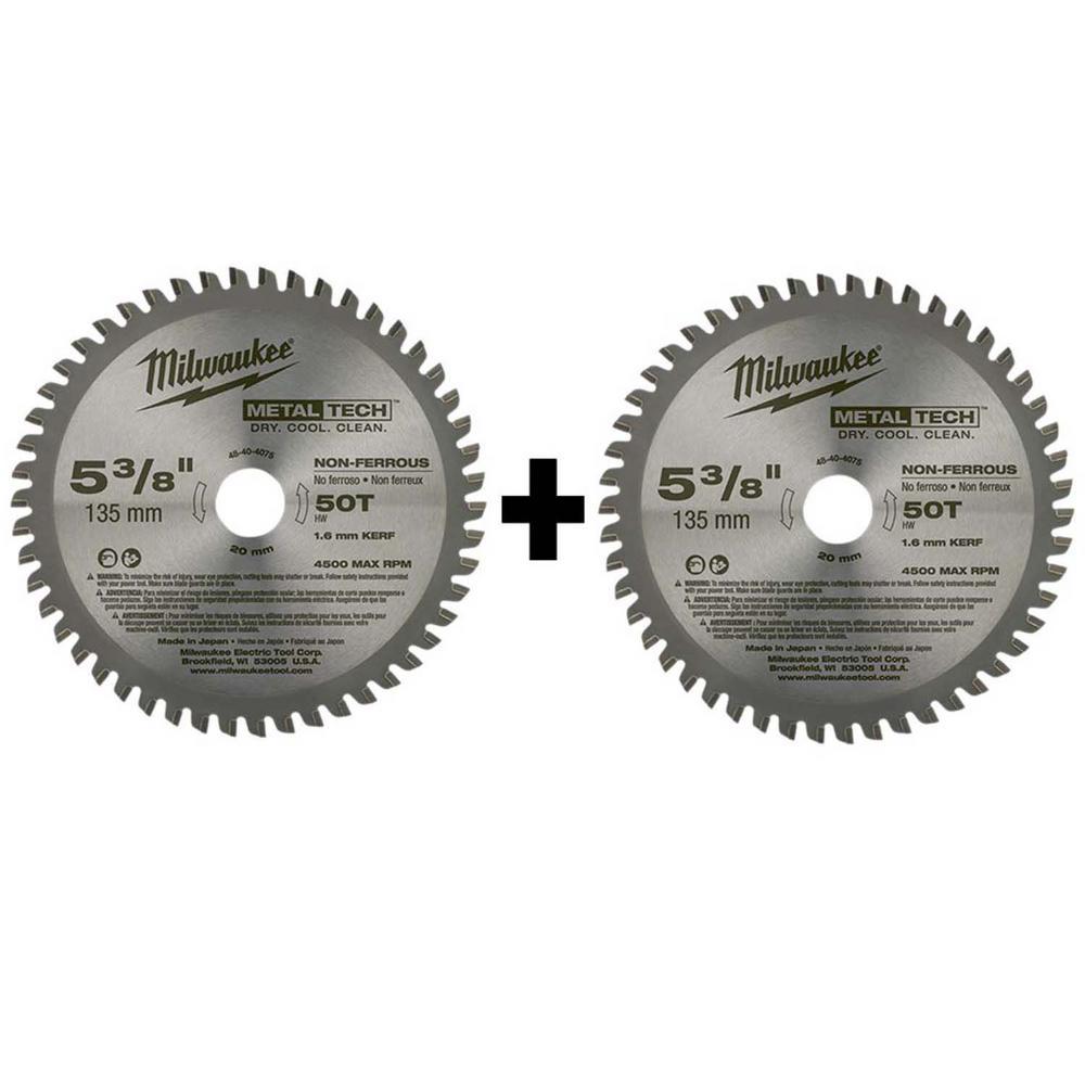 5-3/8 in. x 30 Teeth Ferrous and 5-3/8 in. x 50 Teeth Non-Ferrous Metal Cutting Circular Saw Blade Set (2-Pack)