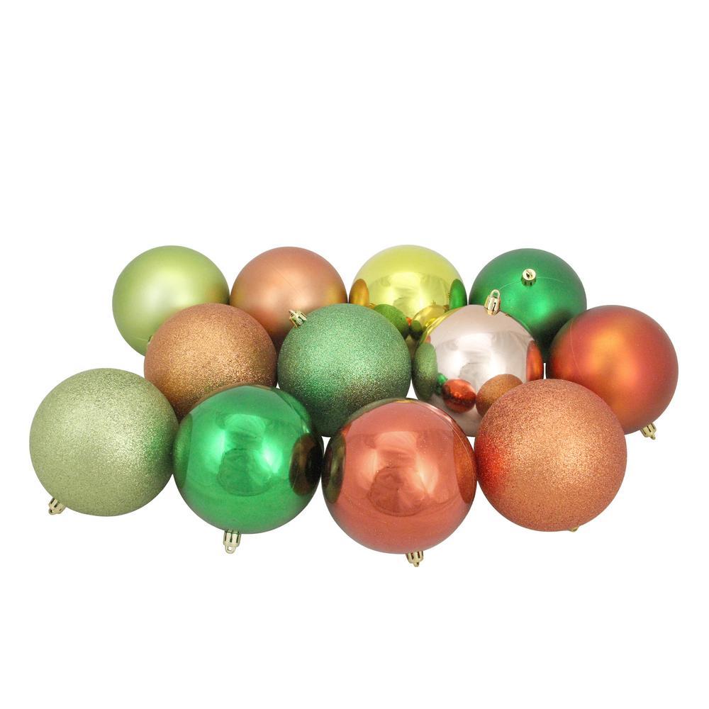 4 in. Kiwi/Burnt Orange/Xmas Green/Almond Shatterproof 3-Finish Christmas Ball Ornaments (12-Count)