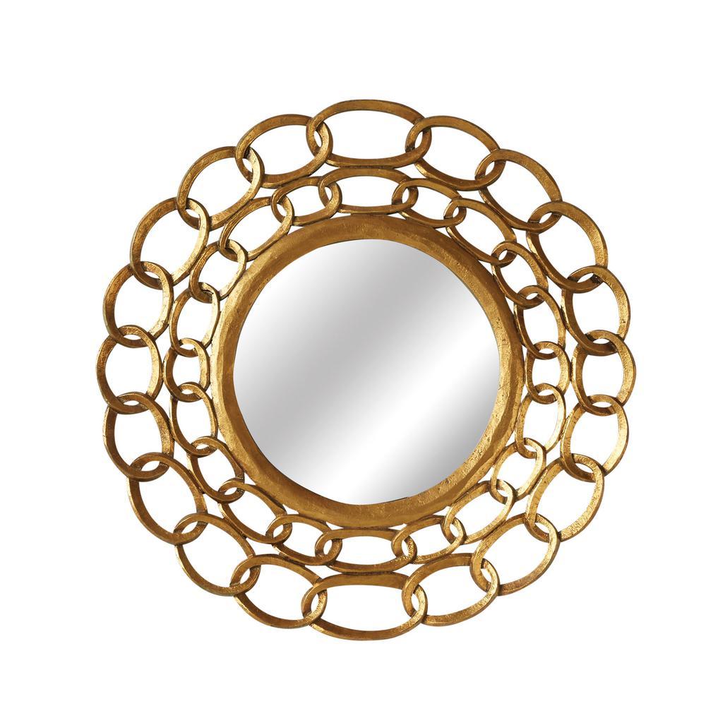 Round Gold Wood Decorative Mirror