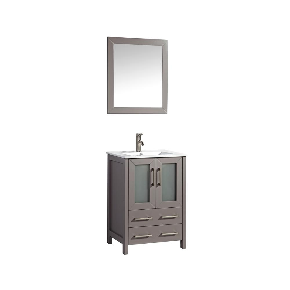 Vanity Art Brescia 24 in. W x 18 in. D x 36 in. H Bath Vanity in Grey with Vanity Top in White with White Basin and Mirror