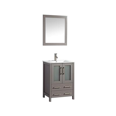 Brescia 24 in. W x 18 in. D x 36 in. H Bath Vanity in Grey with Vanity Top in White with White Basin and Mirror