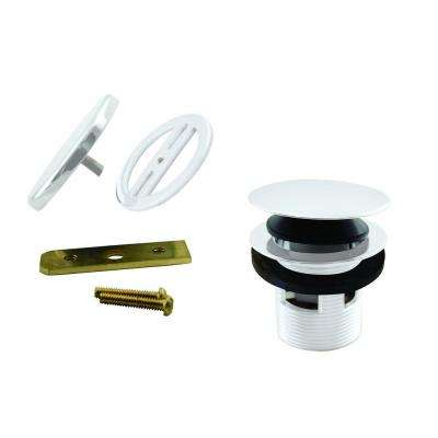 1-1/2 in. NPSM Integrated Overflow Round Tip-Toe Bath Drain with Illusionary Overflow Cover, Powder Coat White