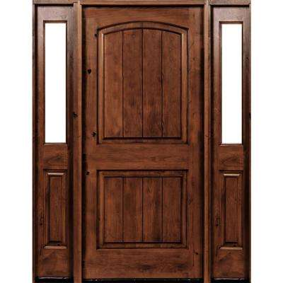60 in. x 96 in. Rustic Alder Arch Red Chestnut Stained Wood with V-Groove Left Hand Single Prehung Front Door