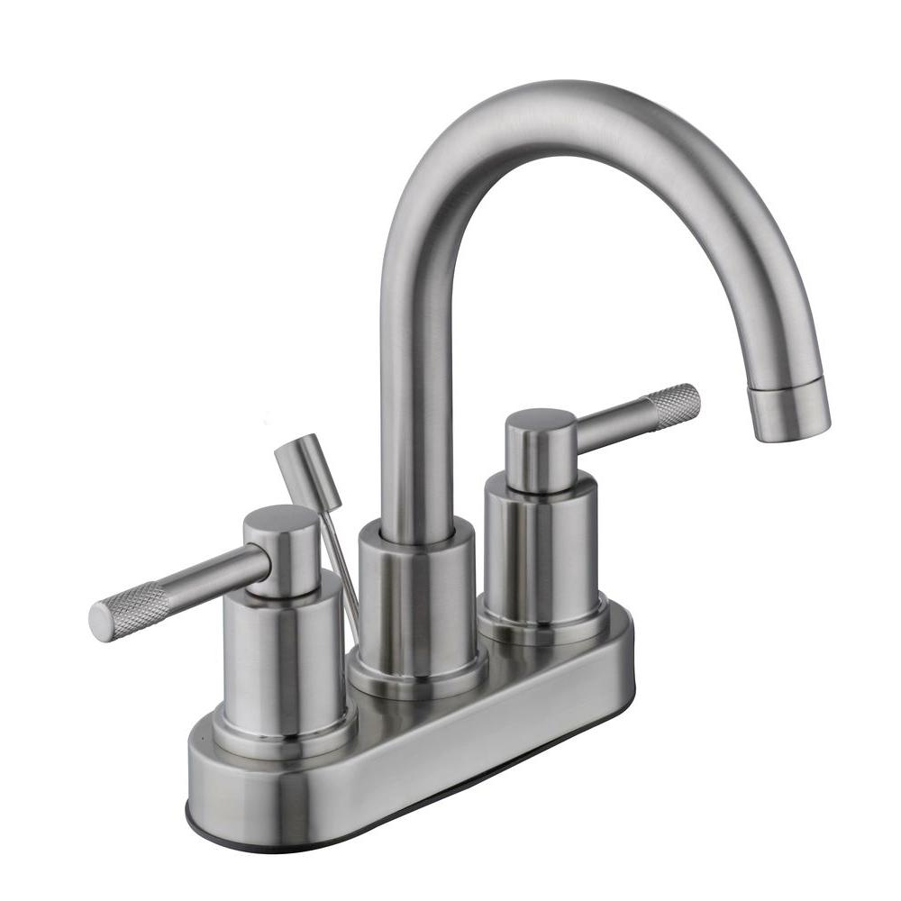 Glacier Bay Axel 4 in. Centerset 2-Handle High-Arc Bathroom Faucet ...