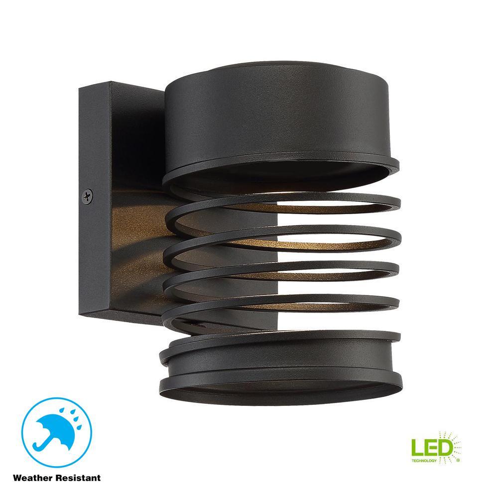 Masena 1-Light Sand Black Outdoor Integrated LED Wall Mount Lantern Small