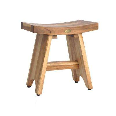 EarthyTeak Serenity 18 in. Eastern Style Shower Stool