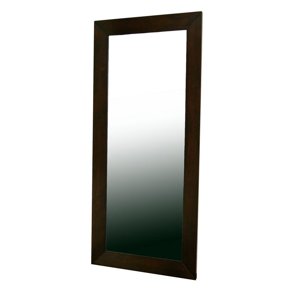 Doniea Contemporary Dark Brown Wood Finished Floor Mirror