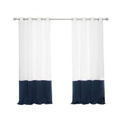 Oxford Outdoor 52 in. W x 84 in. L Colorblock Curtains in Navy (2-Pack)
