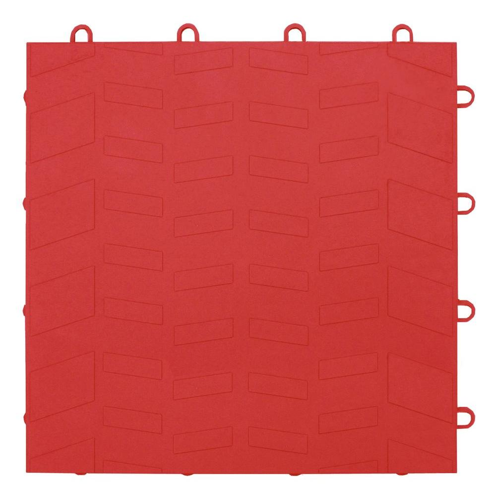 MotorMat Tread Bright-Red 12 in. x 12 in. Garage Tile - 40 Count Case