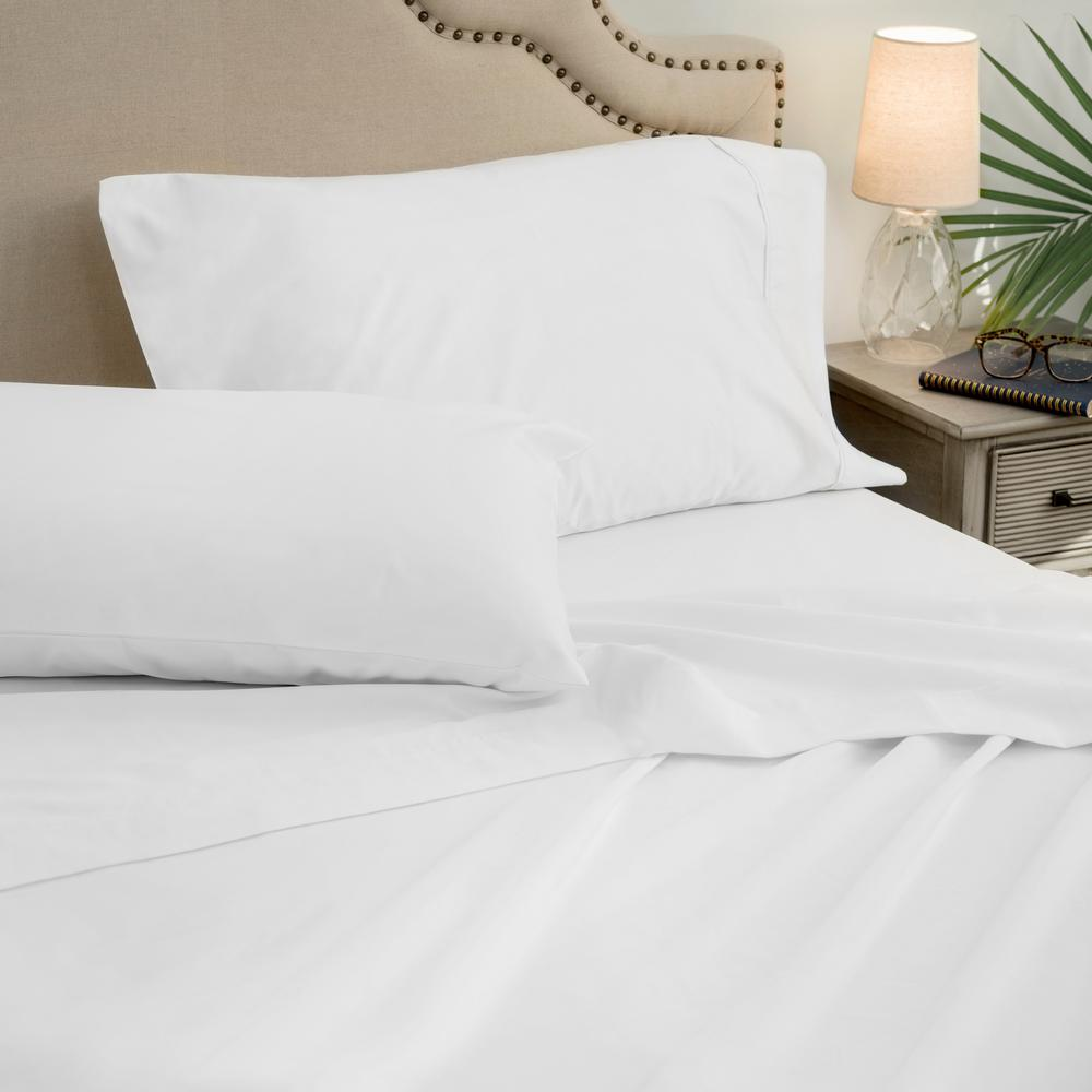 4 Piece White 1000 Thread Count Cotton Poly King Sheet Set
