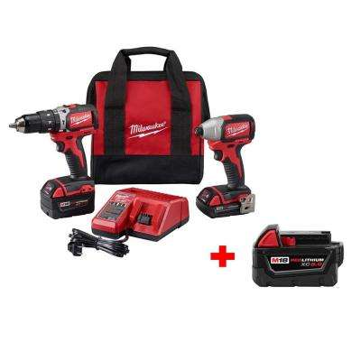 M18 18-Volt Lithium-Ion Brushless Cordless Hammer Drill/Impact Combo Kit (2-Tool) W/ Free M18 5.0Ah Battery