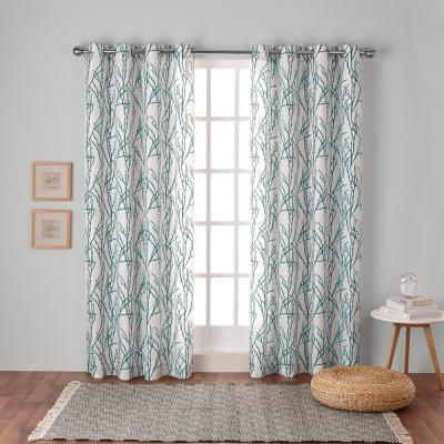 Branches 54 in. W x 108 in. L Linen Blend Grommet Top Curtain Panel in Teal (2 Panels)