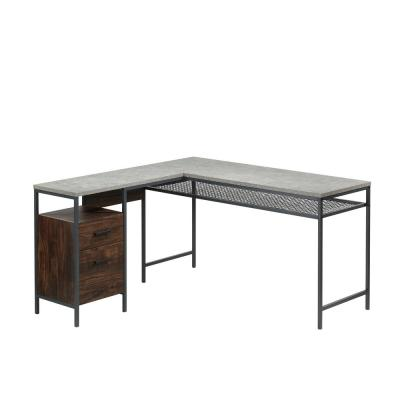 56 in. L-Shaped Rich Walnut/Slate Gray 2 Drawer Computer Desk with File Storage