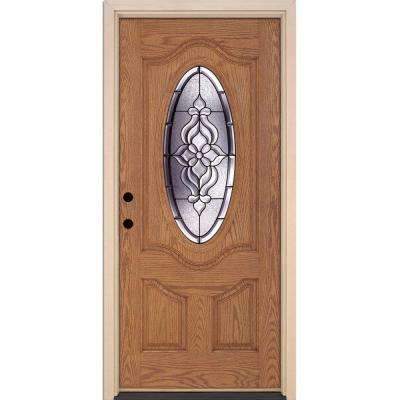 37.5 in. x 81.625 in. Lakewood Patina 3/4 Oval Lite Stained Light Oak Right-Hand Inswing Fiberglass Prehung Front Door