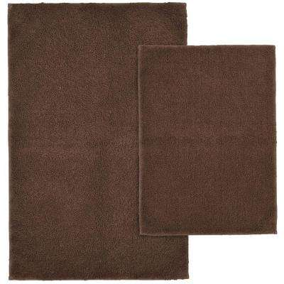 Queen Cotton Chocolate 21 in. x 34 in. Washable Bathroom 2-Piece Rug Set